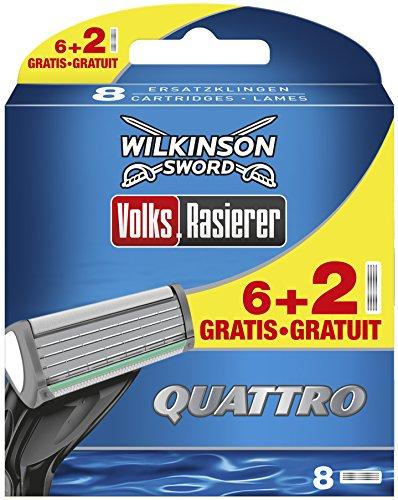 Wilkinson Sword Quattro Herren Rasierklingen Volksrasierer, 6 + 2 St