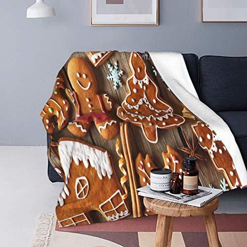 QINCO Doux Micro Toison Couverture de Jet Décor de Maison,Biscuits de Pain d'épice Maison de Noël sur Table en Bois,Poids Léger Canapé lit Couette en Flanelle,60\