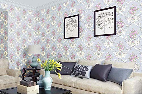 GoLon Fotobehang, zelfklevend, stereotSlovenie, 3D, Europese stijl, grote bloemen, warme slaapkamer, woonkamer, wanddecoratie, Lichtblauw
