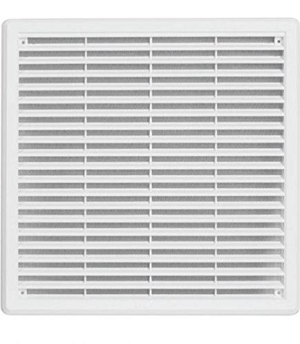Haco Rejilla de ventilación - rejilla de ventilación de plástico ASA con protección contra insectos: 300 x 300 mm - blanco
