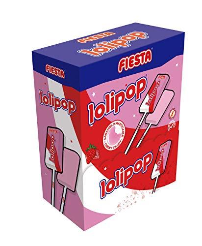 FIESTA Lolipop Caramelo Masticable con Palo Sabor Fresa - Caja de 100 unidades