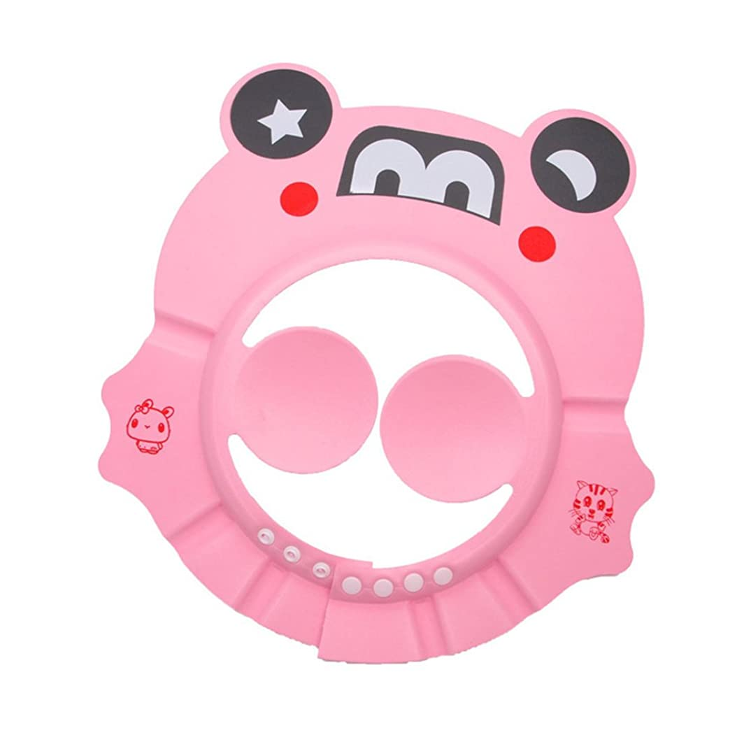 押す導出符号調整可能なプラスチック製のベビーチャイルドキッズシャンプーバスシャワーキャップハットウォッシュヘアキャップ浴室付属品 pink