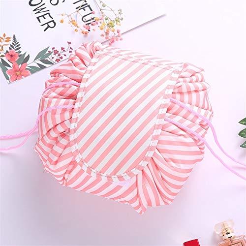 Femmes Sac à cordonnet cosmétiques Voyage sac de maquillage organisateur Faites le sac cosmétique Case pochette de rangement Beauty Box Kit de toilette (Color : Fresh white stripes)