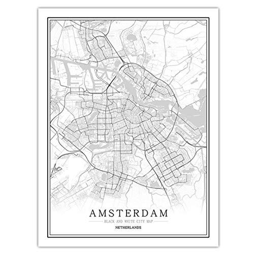 kldfig Nederland Zwart Wit Wereld Stadsplan Poster Nordic woonkamer Amsterdam Breda muurkunst foto's Wooncultuur Canvas Schilderij 50 * 70 cm niet ingelijst