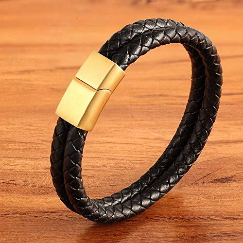 YUANBOO Diseño Clásico Antique Black Brayed Pulsera Regalo De Personalidad para Hombres Pulsera De Cuero Brazalete Brazalete De Cumpleaños Joyería (Length : 19cm, Metal Color : Gold)