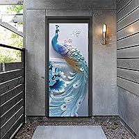 ウォールステッカー&壁画 孔雀のドアのステッカー粘着性のポスターウォールステッカーホームデザインポルタ