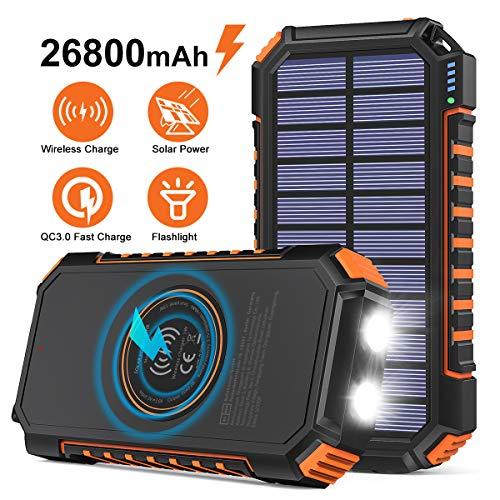 Hiluckey Cargador Solar 26800mAh Power Bank Portátil Inalámbrico con 4 Outputs Power Bank con USB C Carga Rápida para iPhone, iPad, Samsung