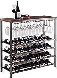 Amoureux du vin Mobilier de bar& 40 bouteilles de vin rack -Fer bois massif et plancher multi-fonction vin Shelf Cave à vin