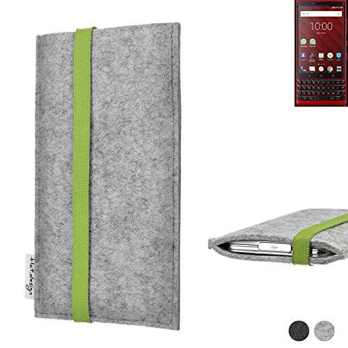 flat.design Handy Hülle Coimbra für BlackBerry KEY2 Red Edition maßgefertigte Handytasche Filz Tasche fair grün hellgrau