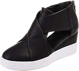 JOYBI Women Fashion Wedges Platform Sneakers Spring Autumn Non Slip Cut Out Zipper Ladies Casual Shoes