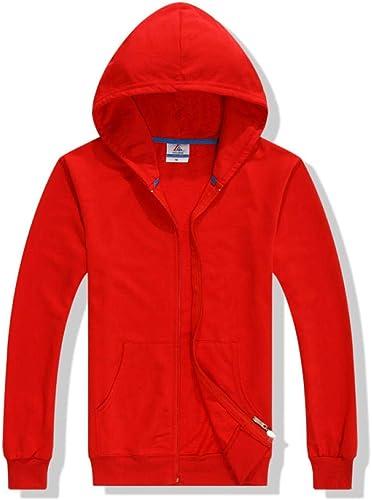 Pull à Capuche pour Hommes et Femmes Manteau de Pull à glissière en éponge 280 grammes Pull de Couleur Unie