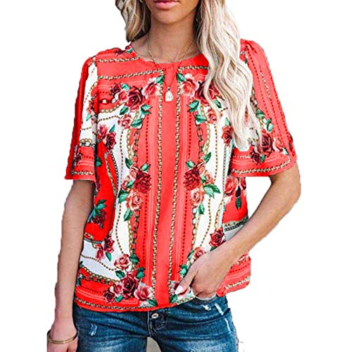 SLYZ Camiseta De Manga Corta De Verano para Mujer, Camiseta De Manga Corta con Cuello Redondo, Blusa Estampada De Talla Grande, Blusa Femenina