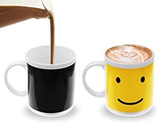Fushing Taza mágica de café Sensible al Calor, Cara Sonriente Taza de Lunes cambiante Taza para café, té, Chocolate Caliente, Leche