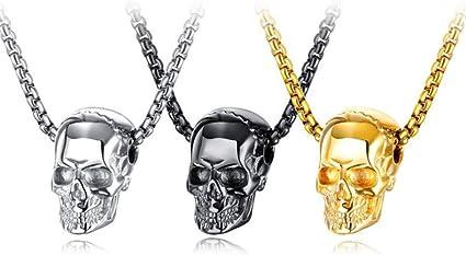 Gothique. Collier Pendentif imprimé tête de Mort et Squelette