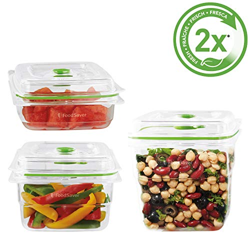 Foodsaver FFC020X Frischebehälter, 700 ml, 1,2 L und 1,8 L aus robustem Kunststoff Tritan