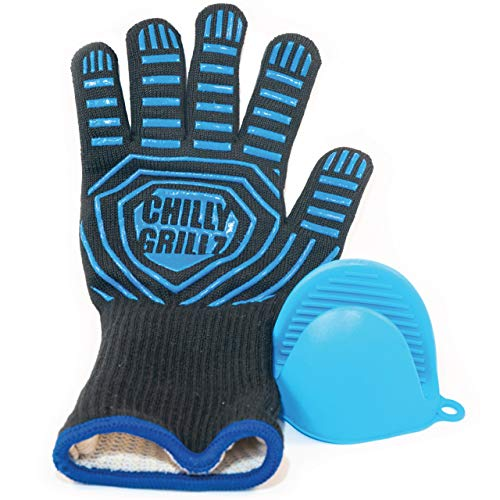 Chilly Grillz Bbq Gloves and Silicone Oven Mitt, Medium Size Heat Resistant Gloves Cooking Gloves Grill Gloves Heat Proof, Unisex Grilling Gloves
