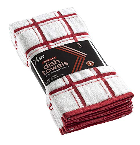 """XLNT Red Large Kitchen Towels (12 Pack) - 100% Cotton Dish Towels 