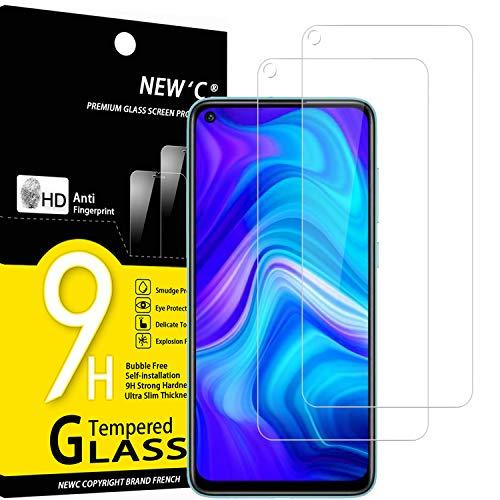NEW'C 2 Unidades, Protector de Pantalla para Xiaomi Redmi Note 9, Xiaomi Redmi 10X 4G, Antiarañazos, Antihuellas, Sin Burbujas, Dureza 9H, 0.33 mm Ultra Transparente, Vidrio Templado Ultra Resistente