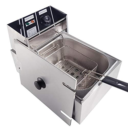 TAIMIKO - Freidora eléctrica comercial única depósito de acero inoxidable 10L/20L 3000W/5000W 220V-240V termostato 60-200°C 2500W Single Tank
