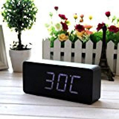 TOHHOT EiioX Reloj de Grano de Madera Reloj de Alarma LED de Escritorio Fecha de Temperatura del Tiempo - Control de Sonido - Última generación (Luz LED Blanca de Piel Negra)