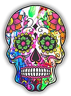 Vinyl Junkie Graphics Sugar Skull Sticker Dia de Los Muertos Decal Mexican Day of The Dead Stickers for Notebook car Truck Laptop Many Color Options (Color Burst)