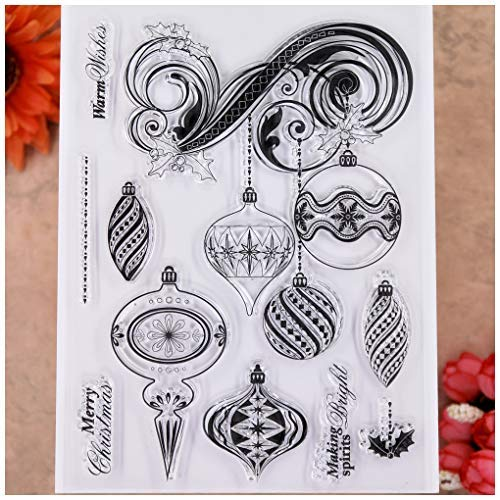 KWELLAM Merry Christmas Warm Wishes Ball Clear Stamps for Card Making Decoration and DIY Scrapbooking