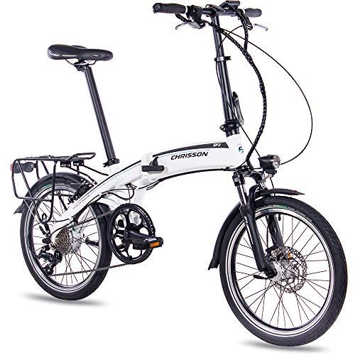 CHRISSON 20 inch E-Bike vouwfiets EF2 mat wit - E-vouwfiets met Bafang naafmotor 250W, 36V, 30 Nm, Pedelec vouwfiets voor dames en heren, praktische elektrische vouwfiets