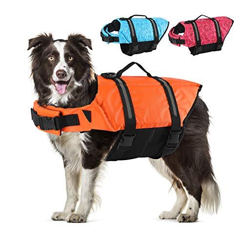 EMUST Dog Life Jackets, Dog Life Vests for Swimming, Beach Boating with High Buoyancy, Dog Flotation Vest for Small/Medium/Large Dogs, Orange, S