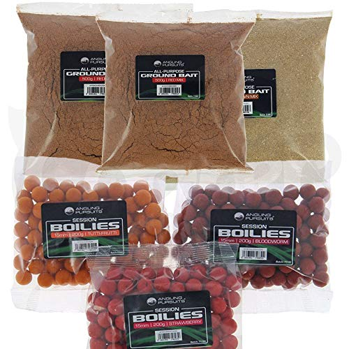 Carp Coarse Fishing Bait Set 3 x Packs Of 200g Boilies And 600g Groundbait Mixed Flavours FOR ALL ANGLERS