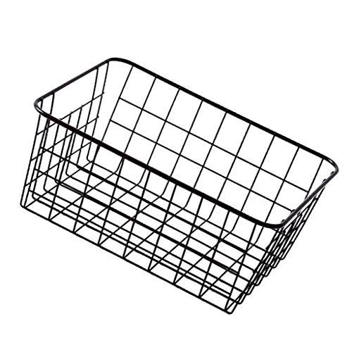 Fenteer Étagère Panier Stockage en Métal Rangement de Cuisine Salle de Bain Durable - Noir sans entoilage
