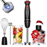 VAVSEA 1000W 5-in-1 Multi-function Immersion Hand Blender, 12-Speed Stick Blender with 500ml Chopping Bowl, Milk Frother, Egg Whisk, 600ml Beaker for Puree Infant Food/Smoothies/Soups, BPA-Free