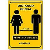 Señalización Coronavirus - Cartel Distancia Social 1,5 m para empresas, comercios, oficinas | Señal COVID-19 | 21 x 30 cm | Descuentos por Cantidad