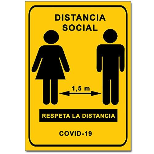 Señalización Coronavirus - Cartel Distancia Social 1,5 m p