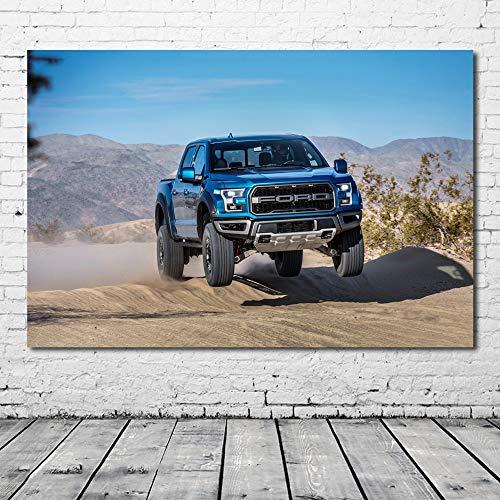 Pintura al óleo póster Cuadro de arte de pared Fords F150 Raptor Supercrew Pickup coche vehículo pintura lienzo carteles e impresiones decoración moderna del hogar 50X75cm