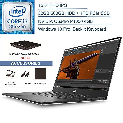 "Dell Precision 5530 Mobile Workstation 15.6"" FHD Business Laptop Computer,Intel 6-Core i7-8850H, 32GB, 500GB HDD +1TB PCIe SSD, Quadro P1000, Windows 10 Professional+YZAKKA External DVD+Accessories"