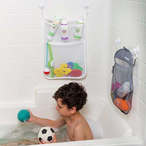 Bath Toy Organizer Set of 2 Holders+10 Foam Numbers+8 Suction&Sticker Hooks | Baby and Toddlers Bathtub Mesh Bag Premium Quality | Quick Dry Tub Holder for Mold Free Toys |Shower Caddy Storage Bin Set
