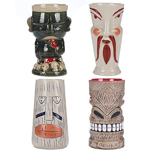 AEIDDRWAA Juego de 4 tazas de cóctel estilo Tiki o 4 vasos de cóctel hawaiano vasos de cóctel vasos de cóctel accesorios Tiki tazas de cerámica vasos de cóctel tazas de fiesta hawaiana