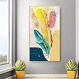 ganlanshu Abstracto Moderno Colorido Pluma Arte Lienzo Pintura Sala de Estar Dormitorio póster e impresión Pared decoración del hogar,Pintura sin Marco,30x60cm
