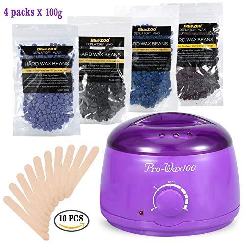 Body Bikini ontharing waxing 500 ml Electric waxverwarmer violet met 4 verschillende aroma's harde wax bonen en 10 houten spatels 100 g Een zakje wax bonen kamille lavendel chocolade