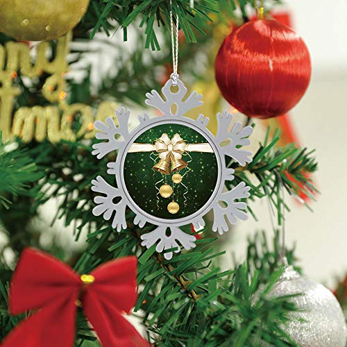 SUPNON Christmas Hanging Snowflake Ornament - Green Background with Christmas Balls and - Cute Xmas Tree Hanging Decoration - Circle Ceramic Holiday Family & Friends Gift SW16417,1 PCS