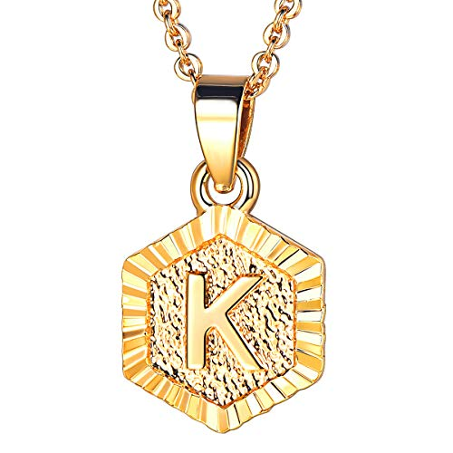 FOCALOOK Letter Necklace 18K Gold Plated Alphabet Initial Charm Pendant Necklace for Women Men Personalised Gifts 18''(Letter K)