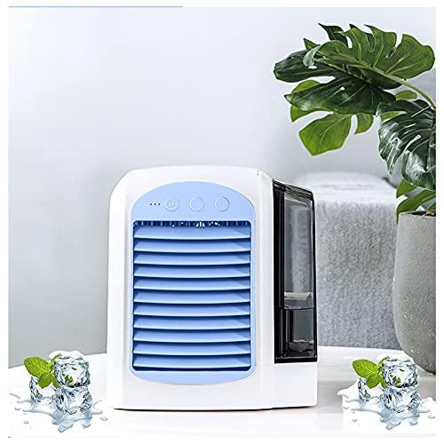 Ventilador de CA personal, mini aire acondicionado recargable, enfriador de aire evaporativo de escritorio, con 3 velocidades, hasta 8 horas de enfriamiento, para el hogar, la oficina y la habitació