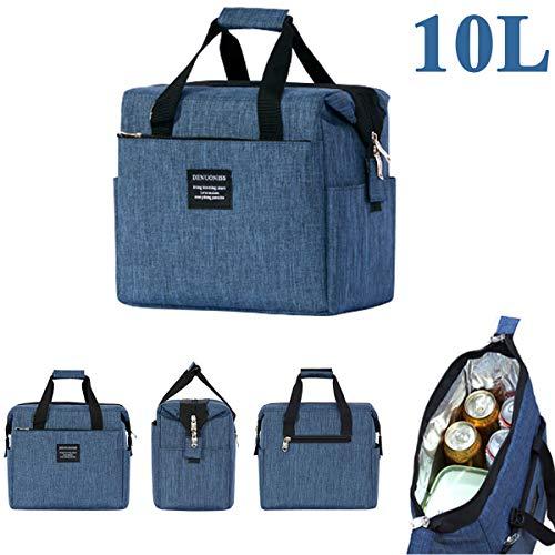 JEMESI Kühltasche Klein Leicht Lunch Tasche Isoliertasche zur Arbeit Schule Faltbar Wasserdicht Reißverschluss-Blau(10L)