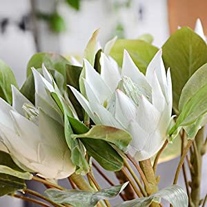 zzJiaCzs Artificial Flower,1Pc King Protea Artificial Flower Fake Plant DIY Wedding Bouquet Party Decor – Wine Red