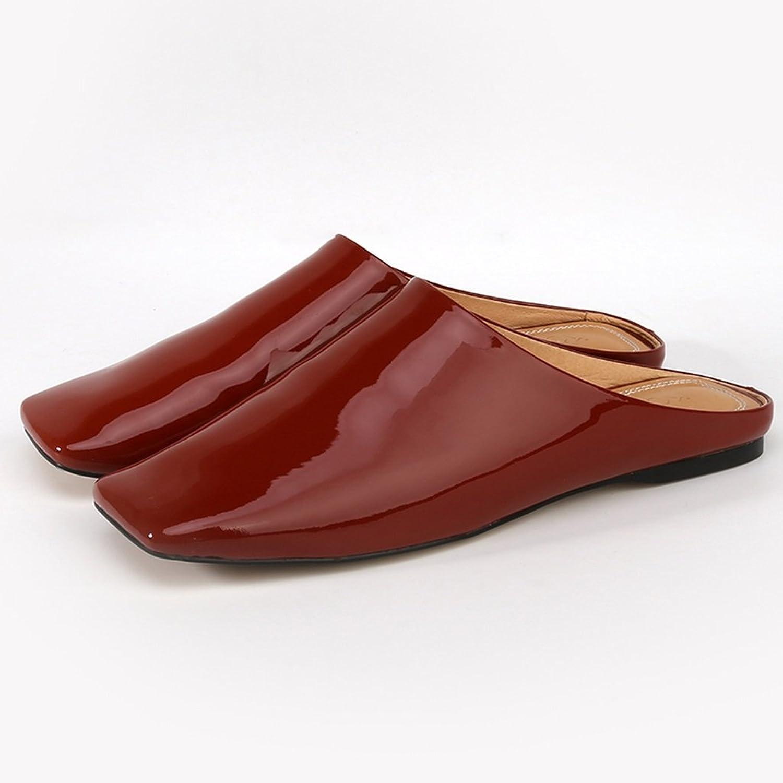 Sandalen Frauen Baotou Halb Hausschuhe Weibliche Weibliche Weibliche Neue Quadratische Kopf Hausschuhe und Flach Keine Ferse Faule Schuhe (Farbe   braun, Größe   40) 7638f4