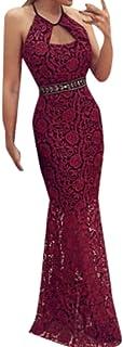 ac759aef1d5 Fainosmny Women Dress Sexy Lace Dress Christmas Skirt Long Slim Dress  Halter Dress Sleeveless Backless Tunic