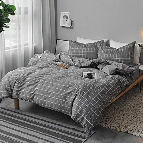 NANKO King Duvet Cover Set 3 pcs, 104x90 inch Geometric Cool Lightweight Microfiber Soft Luxury Quilt Cover with Zip Tie and 2 Pillowcase - Best Modern Bedding for Women Men, White Grid