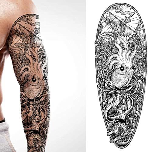 2 x Kraken Pirate black temporary tattoo sea ship sea monster arm full arm body art stickers tribal caribbean full adults kids men women arm leg sleeves halloween christmas stocking filler gift