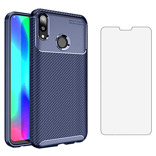Phone Case for Huawei Y9 2019 with Tempered Glass Screen Protector Cover and Cell Accessories Slim Thin Rugged Soft TPU Silicone Carbon Fiber Huwai Hawaii Hwauei Y 9 Women Girls Boys Men Cases Blue