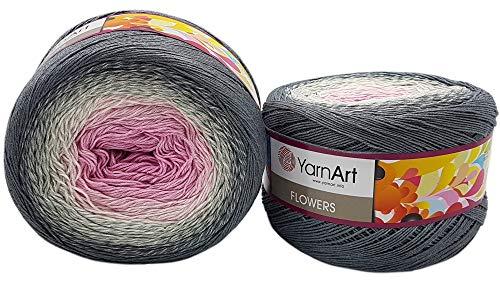YarnArt Flowers 500 Gramm Bobbel Wolle Farbverlauf, 55% Baumwolle, Bobble Strickwolle Mehrfarbig (grau weiß rosa 293)